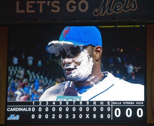 Johan Santana wears whipped cream beard on big board at Citi Field
