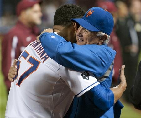 Johan Santana hugs Terry Collins, who deserves credit for leaving Santana in the game
