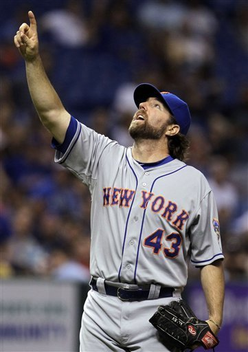 R.A. Dickey points to final out of game