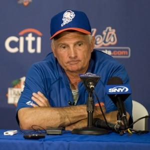 Terry Collins wears the new Mr. Met Spring Training hat.