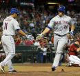 Anthony Recker is congratulated after homering Wednesday.